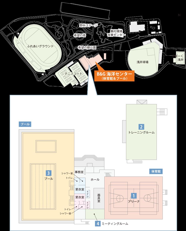 長浜市浅井B&G海洋センター平面図