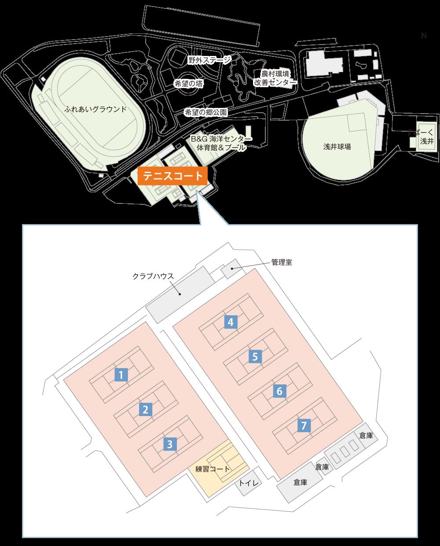 浅井文化スポーツ公園テニスコート平面図